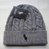 """Polo"" Fashion Casual Winter Women Cute tab Hairball Warm hat Knitting Cap G"