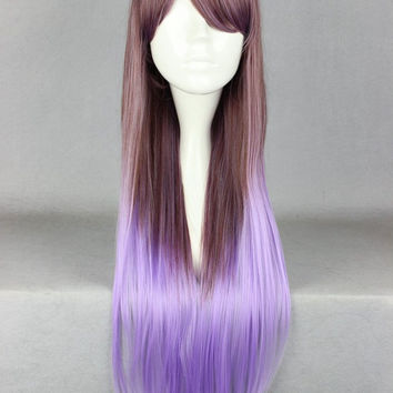 New 2014 Fashion Style Japanese Brown And Purple Ombre Hair Straight Long Gothic Lolita Wig Cosplay Daily Costume Wig,Colorful Candy Colored synthetic Hair Extension Hair piece 1pcs WIG-359A