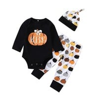 Baby Girl Boy Clothes Newborn Set Halloween Pumpkin Print Romper Jumpsuit Pants Long Sleeves Baby Warm Clothes 18Jul27