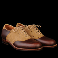 UNIONMADE - Alden - Toland Saddle Oxford in Tan Suede and Brown Chromexcel 99738