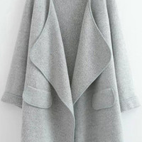 Grey Lapel Cardigan