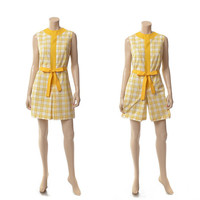 Vintage 60s 70s Yellow Scooter Skorts Dress 1960s 1970s Plaid Cotton Blend Mod Carnaby Street Retro Shorts Playsuit Romper / size M