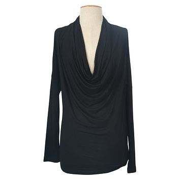 Sexy Solid Long Sleeve Cowl Neck Front Draped Jersey Knit Shirt Blouse Top