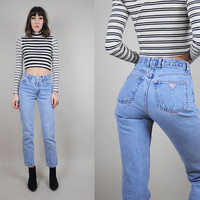 90's vtg GUESS JEANS High waist Skinny leg tight GRUNGE classic blue jean • xs / small