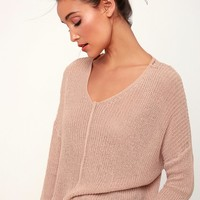 Eloise Dusty Pink V-Neck Loose Knit Sweater