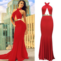 Stylish Women's Sexy Backless Halter Dress Cocktail Party Fishtail Evening Dress Prom Gown
