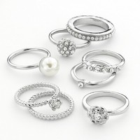 Candie's Silver Tone Simulated Crystal & Simulated Pearl Ring Set (White)