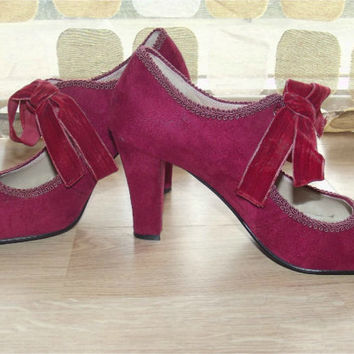 Vintage 90s Oxblood Babydoll Mary Janes High Heel Pumps 7 Lace Up Shoes Victorian Steampunk