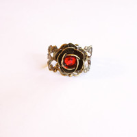 Rose Ring Fairy Tale Beauty and the Beast Neo Victorian Steampunk Adjustable