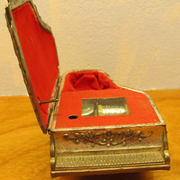 VINTAGE BRASS MUSIC BOX MADE IN JAPAN