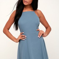 Letter of Love Slate Blue Backless Skater Dress