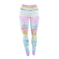 "Sreetama Ray ""Stripes Cushion"" Rainbow Chevron Yoga Leggings"