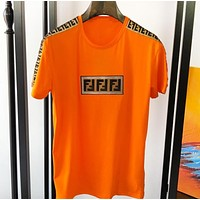 Fendi New fashion embroidery letter couple high quality top t-shirt Orange