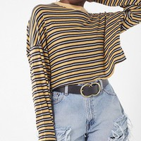 UO Jana Striped Long Sleeve Cropped Top | Urban Outfitters