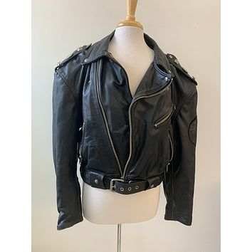Vintage Embellished Leather Moto Jacket