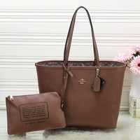 COACH Women Leather Handbag Tote Clutch Bag Cosmetic Bag Shoulder Bag Set Two-Piece