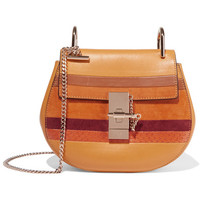 Chloé - Drew mini suede and watersnake-trimmed leather shoulder bag