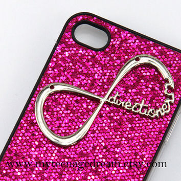 Infinity iphone 4 case, One Direction forever directioner bling glitter iPhone Case 4 , deep pink spark hard case for iphone 4 case