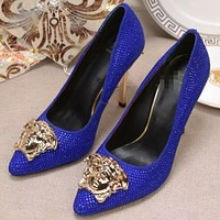 Versace 2018 new fashion shallow mouth rhinestone pointed stiletto shoes F0605-1 Blue