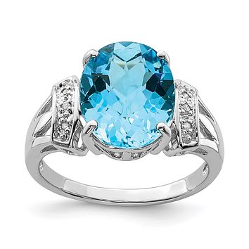 Sterling Silver Rhodium Oval Checker-Cut Blue Topaz & Natural Diamond Gemstone Birthstone Ring Fine Jewelry Gift for Her