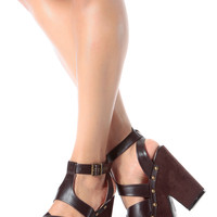 Brown Faux Leather Strappy Chunky Platform Heels