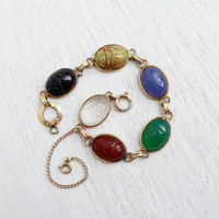Vintage Scarab Bracelet - 12K Yellow Gold Filled Semi Precious Stone Egyptian Revival Jewelry / Chrysoprase, Carnelian, Onyx, Quartz...