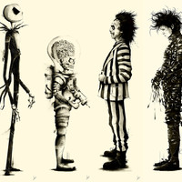Tribute to Tim Burton: Set of 4 Large Series by Marie Bergeron
