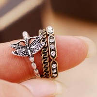 Vintage women's silver butterfly crystal 3 Rings
