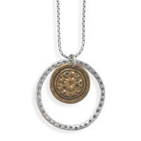 18in Necklace with Silver and Brass Circle Pendant