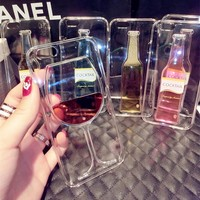 Red Wine Cup and Beer Bottle Liquid Transparent Case