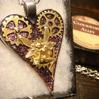 Clockwork Fairy Heart with Gears Steampunk Pendant Necklace- (1810)