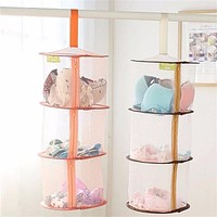 Home Storage 3 Layers Folding Laundry Basket for Dirty Clothes Hanging Mesh Storage Basket for Toys Windproof Clothes Hamper