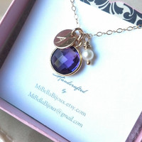 Bridesmaid, New Mom Necklace--Purple Amethyst, Pearl, Monogrammed Initial Necklace Gold Fill/Gift For Friend