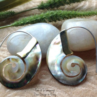 """Tribal Hanging Earrings, """"Colors of the Sea"""" Naturally Organic, Black Mother of Pearl, Brass/Sterling, Hand Carved"""