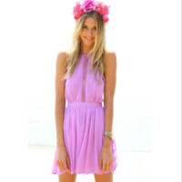 Casual Halter Neck Lace Embroidered Backless Pleated Mini Dress