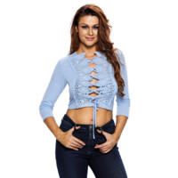 Fashion sexy  woman chest lace  up type hollow 7 minutes of sleeve T-shirt