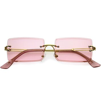Go Pink! Luxe Color Tinted Bevelled Lens Metal Rectangle Sunglasses D224
