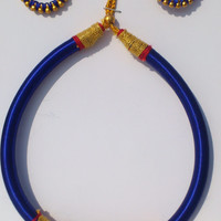 Handmade Charming Design Silk Thread Soft Jewellery set with Necklace, Ear rings & Matching Bangles