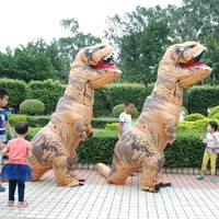 Adult  T-REX Inflatable Costume Cosplay Dinosaur Animal Jumpsuit Halloween Costume for Men and Women