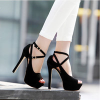 New OL Cute Sexy Black Strappy Peep Toe Ankle Strap Stiletto High Heels For Prom