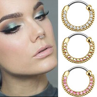 Surgical Steel Titanium Silver Plated Crystal Nose Ring faux septum rings piercing de nariz Piercing Body Jewelry For Women