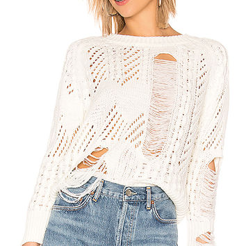 by the way. Grayson Distressed Sweater in Ivory | REVOLVE