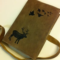 leather journal skechbook handprinted for you Bird/Elk