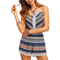 Spaghetti Strap Printed Romper with Lace Trim