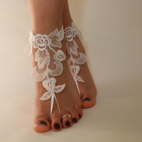 FREE SHİP Beach Wedding Barefoot Sandals,Lace Shoes,Bridal Lace Barefoot Sandals,Wedding Shoes Bridesmaid Gift