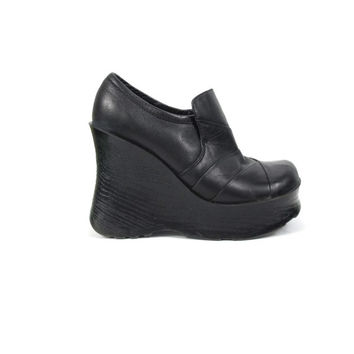 90s Monster Platform Wedge Shoes Black Leather Goth Chunky Heels Ankle Boots Loafers Aldo Cyber Club Kid Patchwork Leather Shoes (38/7.5)