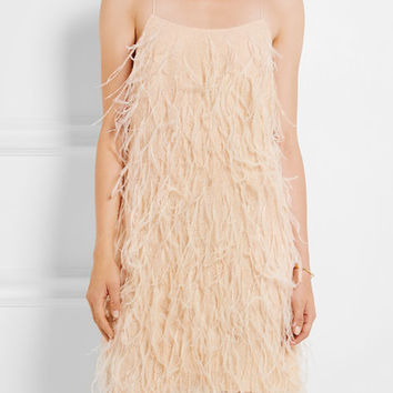 Michael Kors Collection - Feather-embellished Chantilly lace mini dress