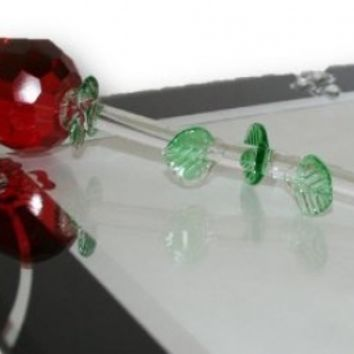 """Red 13"""" Crystal Rose with Green Leaves"""