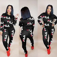Fila New fashion more letter print long sleeve top and pants two piece suit Black