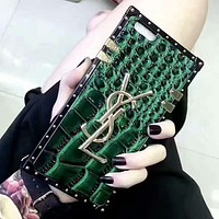 YSL tide brand crocodile pattern men and women all-inclusive iPhone7 mobile phone case cover green